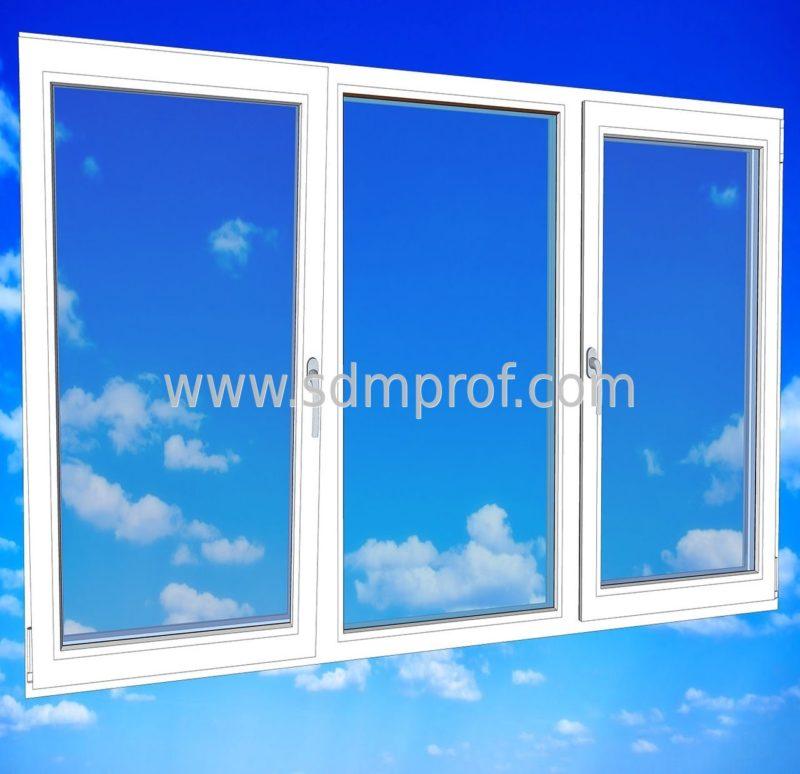 Трехстворчатое окно Veka euroline с двумя створками
