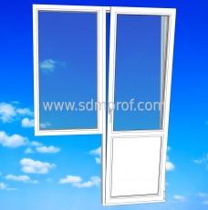 Балконный блок с узким окном REHAU-Blitz.размер 1300х2100